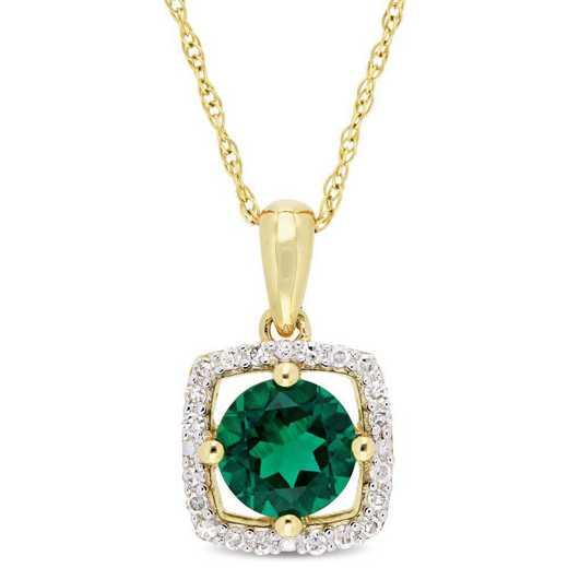 BAL001069: Create Emerald/Diamnd Squar Halo Pendant w/Chain/10kYelowGld