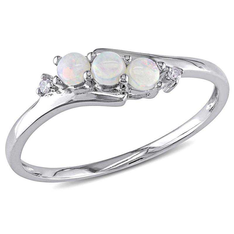 Opal and Diamond 3-Stone Ring in 10k White Gold