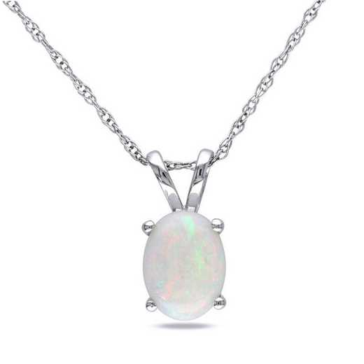 BAL000767: Oval Opal Solitaire Pendant with Cha/ / 10k WG