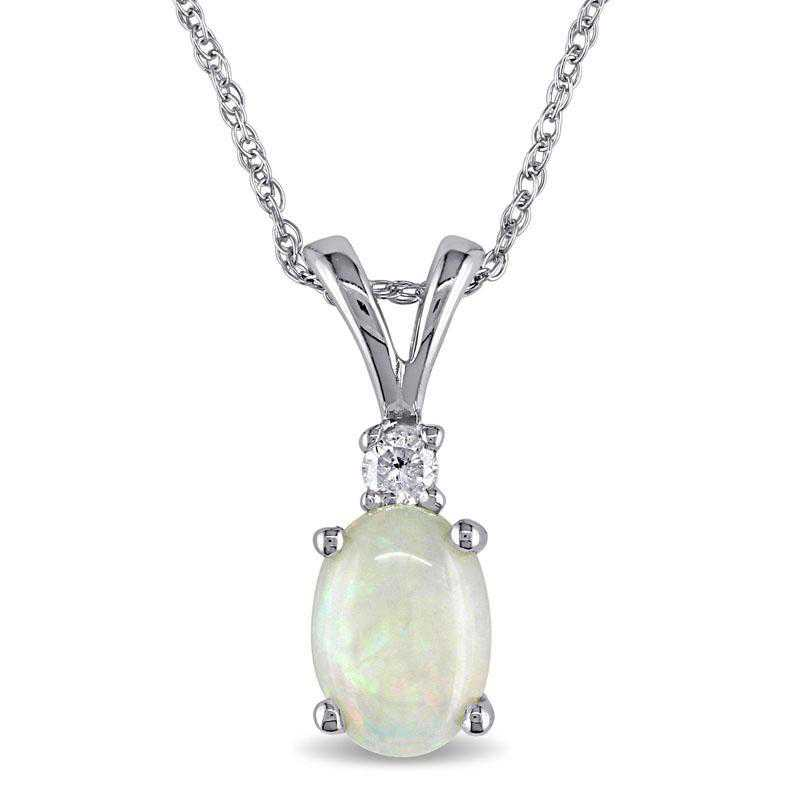 BAL000769: Oval Opal / DMND Solitaire Pendant with Cha/ / 10k WG