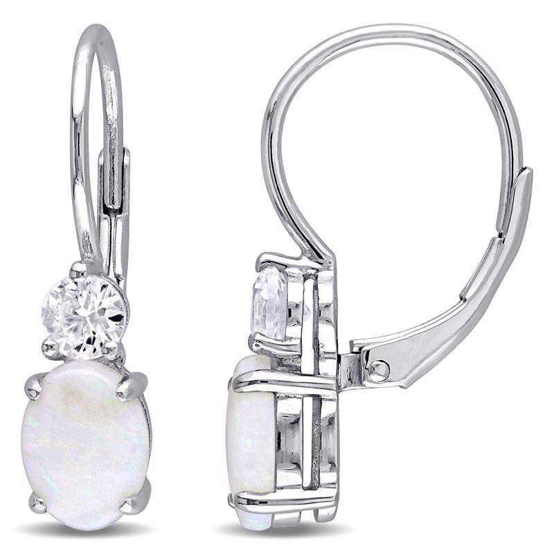 BAL000771: Opal / Created White Sapphire Drop EAR / SS