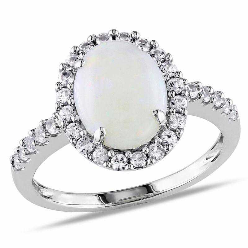 Oval Opal and Created White Sapphire Halo Ring in 10k White Gold