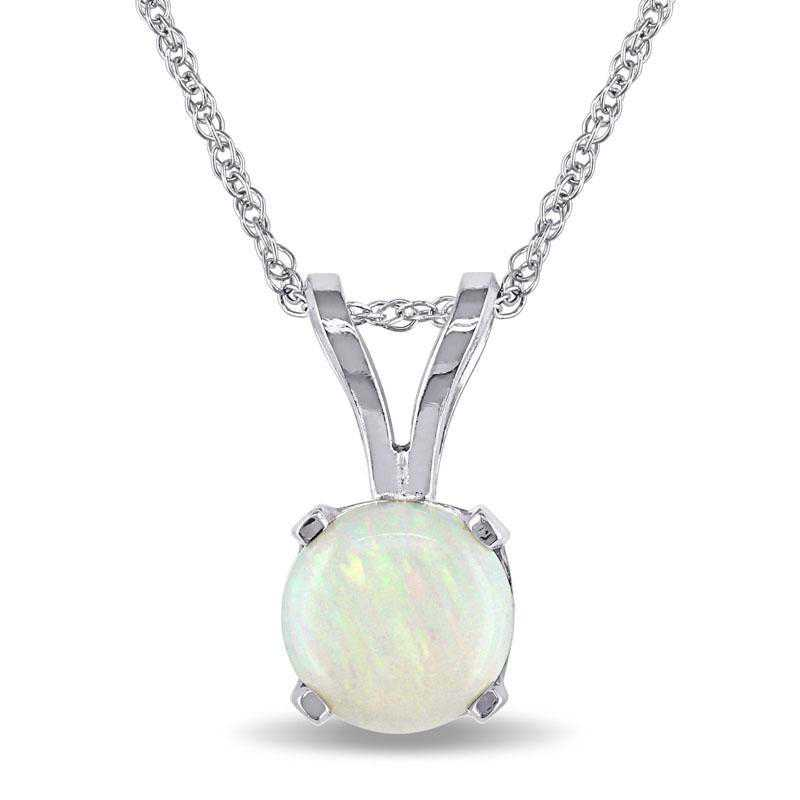 BAL000777: Opal Solitaire Pendant with Cha/ / 14k WG