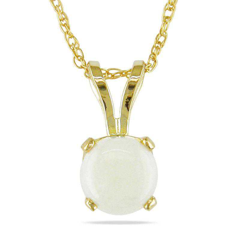 BAL000778: Opal Solitaire Pendant with Cha/ / 14k YG