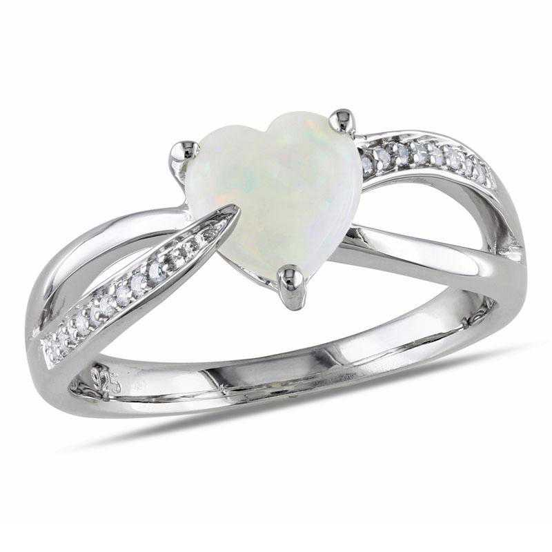 Opal and Diamond Heart Crossover Ring in Sterling Silver