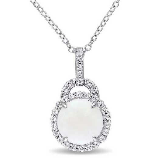 BAL000781: Opal / White Topaz Halo Charm Pendant with Cha/ / SS