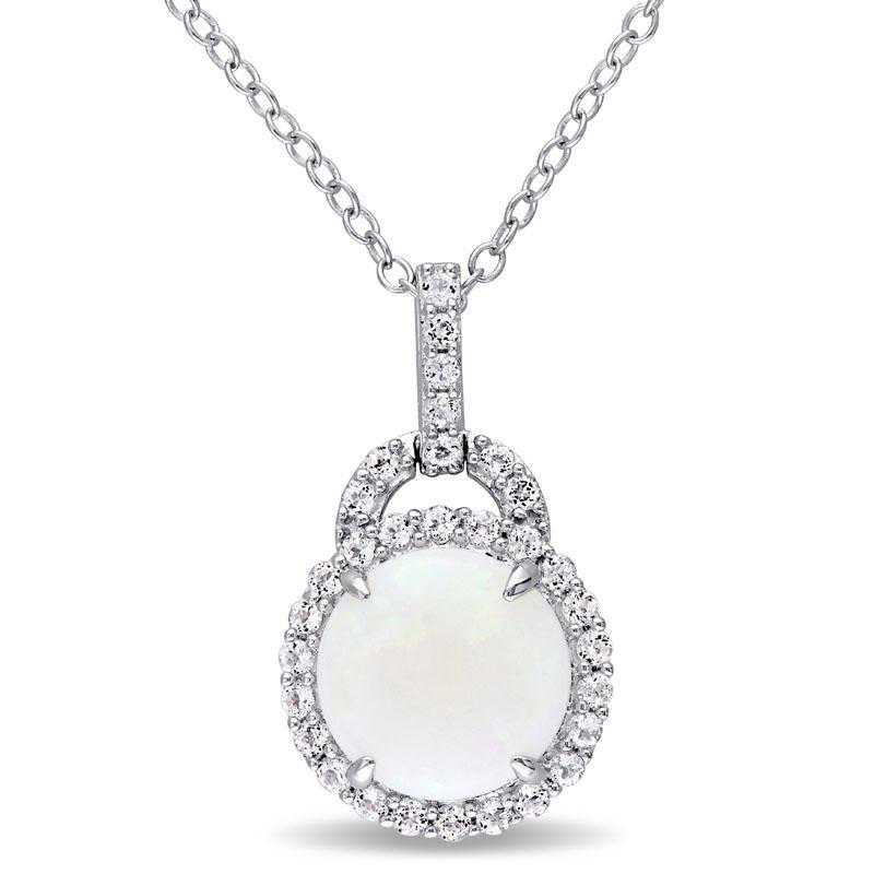 BAL000781: Opal / White Topaz Halo Charm Pendant with Cha/ / SS