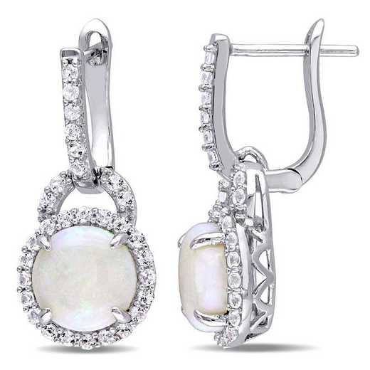 BAL000782: Opal / White Topaz Charm Dangle EAR / SS