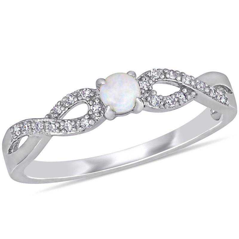 Opal and 1/10 CT TW Diamond Infinity Ring in Sterling Silver