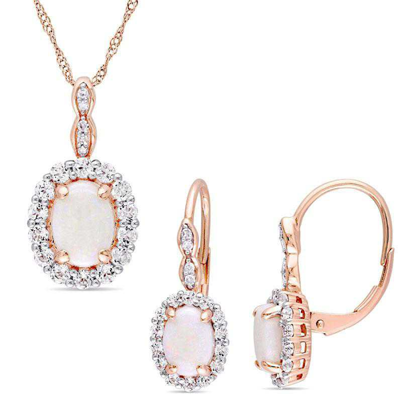 BAL000786: 2-PC Opal-Wht Topaz/DmndVntg Neck/Ear14kRG