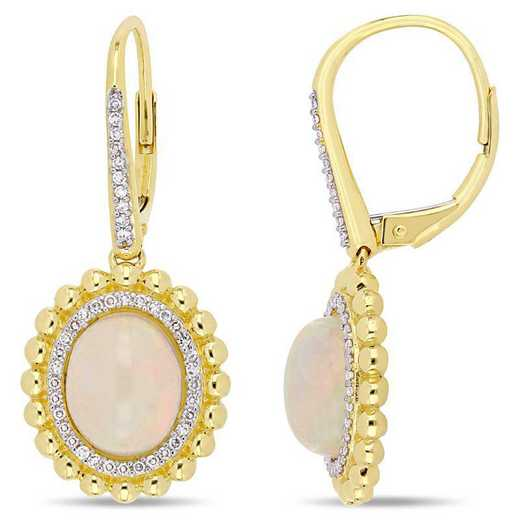BAL000792: Oval-Cut Opal / 1/4 CT TW DMND Halo Dangle EAR / 14k YG