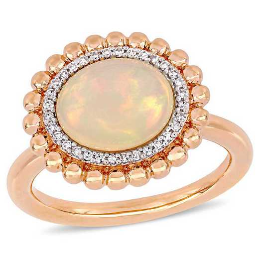 Oval-Cut Blue-Hued Opal and 1/10 CT TW Diamond Halo Ring in 14k Rose Gold