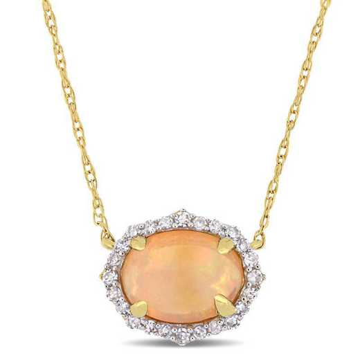 BAL000798: Oval-Cut Opal / 1/10 CT TW DMND Halo V/tage Neck 10k YG