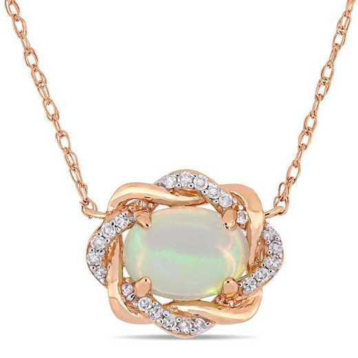 BAL000800: Blue Opal / 1/10 CT TW DMND /terlaced Halo Neck 10k RG