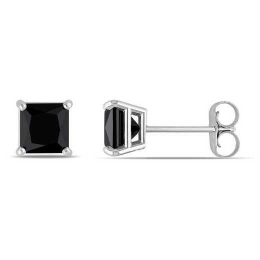 BAL000807: 1 CT TW Black DMND Pr/cess-Cut Stud EAR / 14k WG