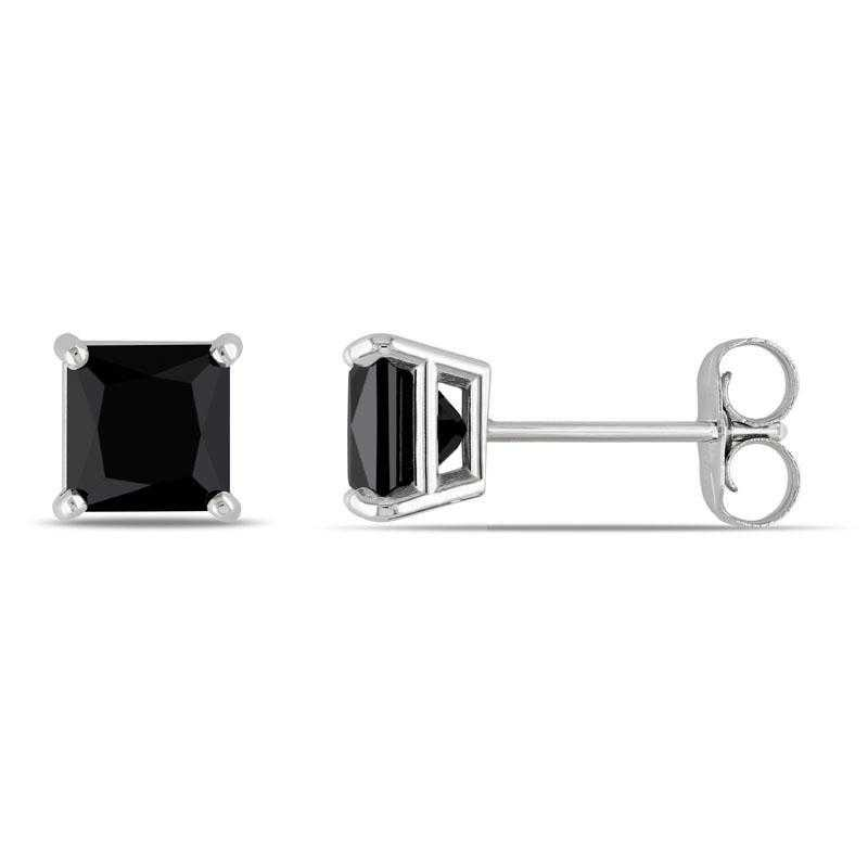 BAL000807: 1 CT TW Black DMND Pr/cess-Cut Stud EAR / 14k WG