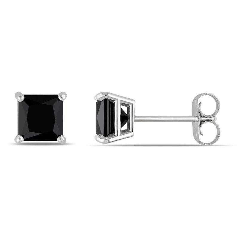 BAL000808: 1 1/2 CT TW Black DMND Pr/cess-Cut Stud EAR / 14k WG