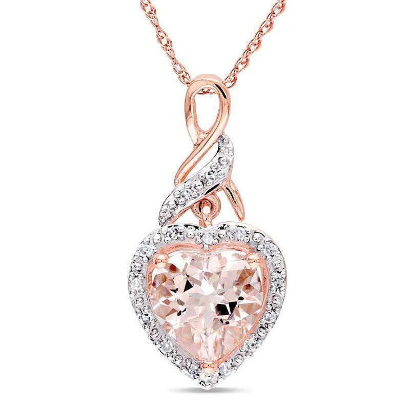BAL000815: Morganite / DMND Heart Pendant with Cha/ / 10k RG
