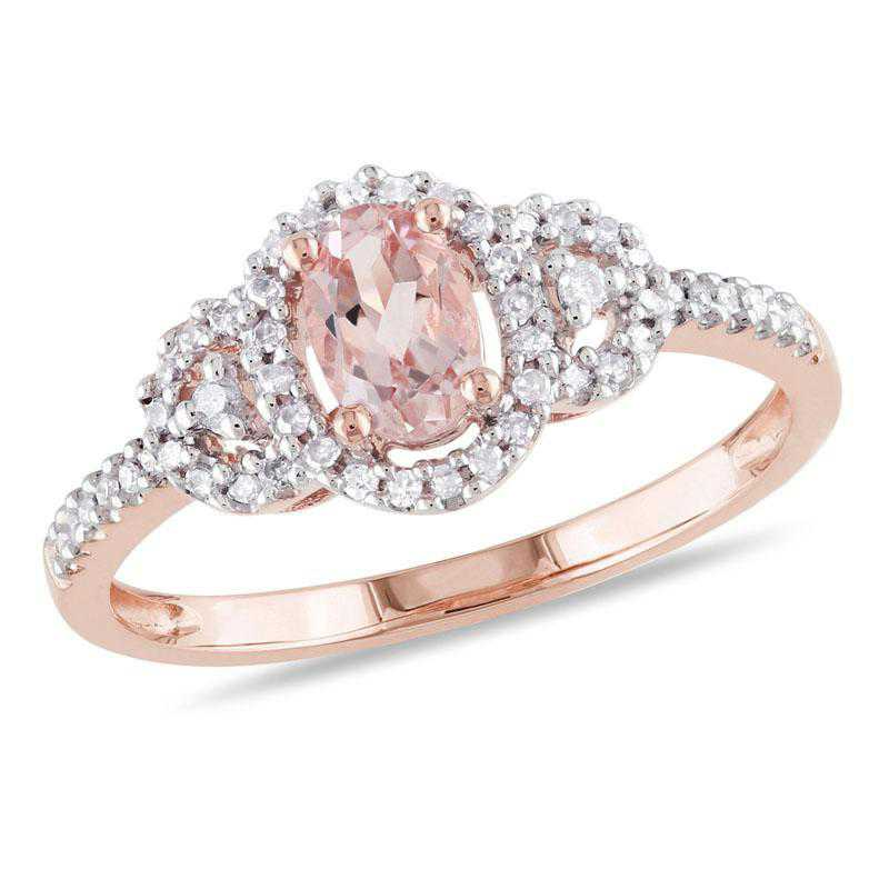 Oval-Cut Morganite Halo Ring with 1/6 CT TW Diamonds in 10k Rose Gold