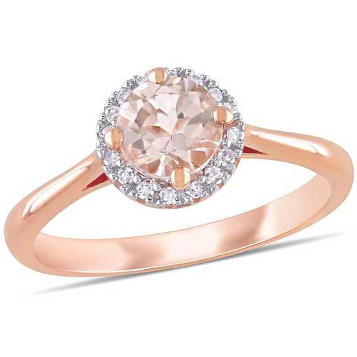 Morganite and 1/10 CT TW Diamond Halo Ring in 10k Rose Gold