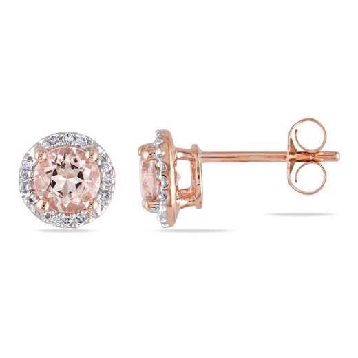 BAL000822: Morganite / DMND Halo Stud EAR / 10k RG