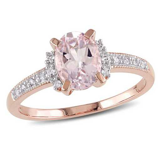 Oval-Cut Morganite and Diamond Ring in Rose Plated Sterling Silver