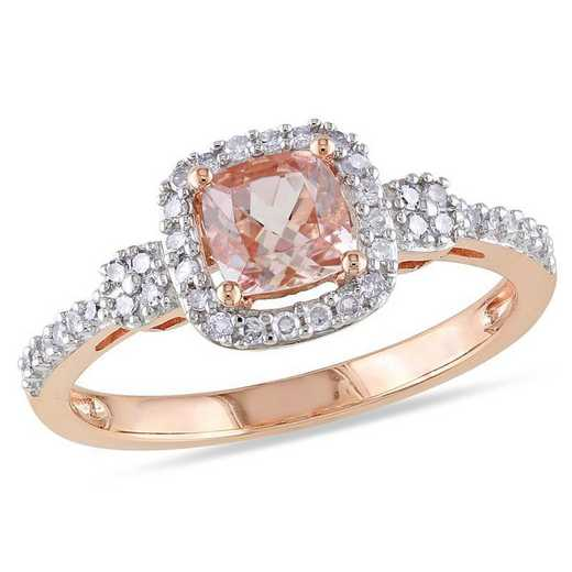 Cushion-Cut Morganite and 1/6 CT TW Diamond Halo Ring in 10k Rose Gold