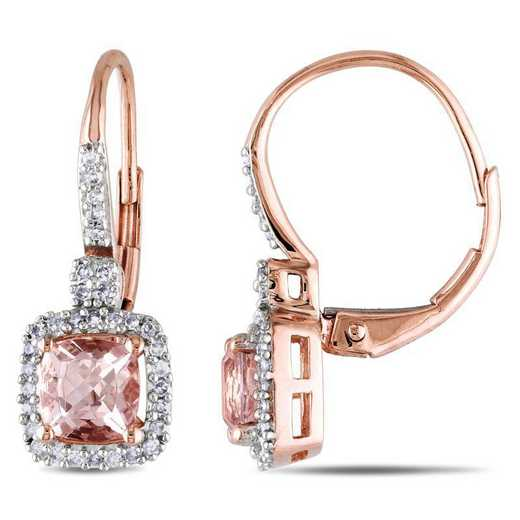 BAL000825: Cushion-Cut Morganite / 1/5 CT TW DMND Halo EAR / 10k RG