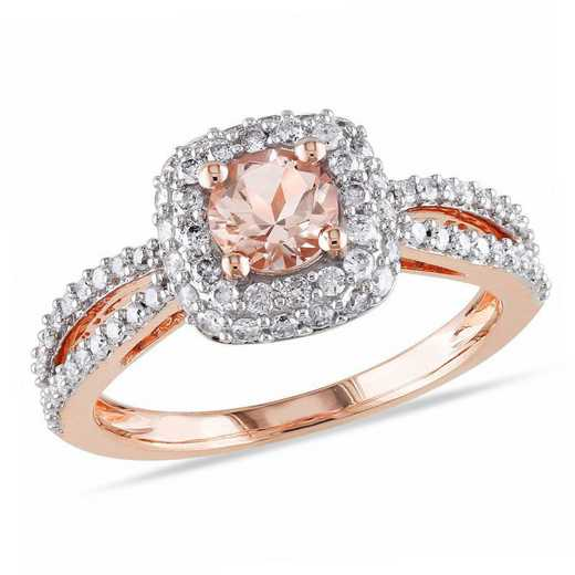 Morganite and 1/2 CT TW Diamond Halo Ring in 14k Rose Gold