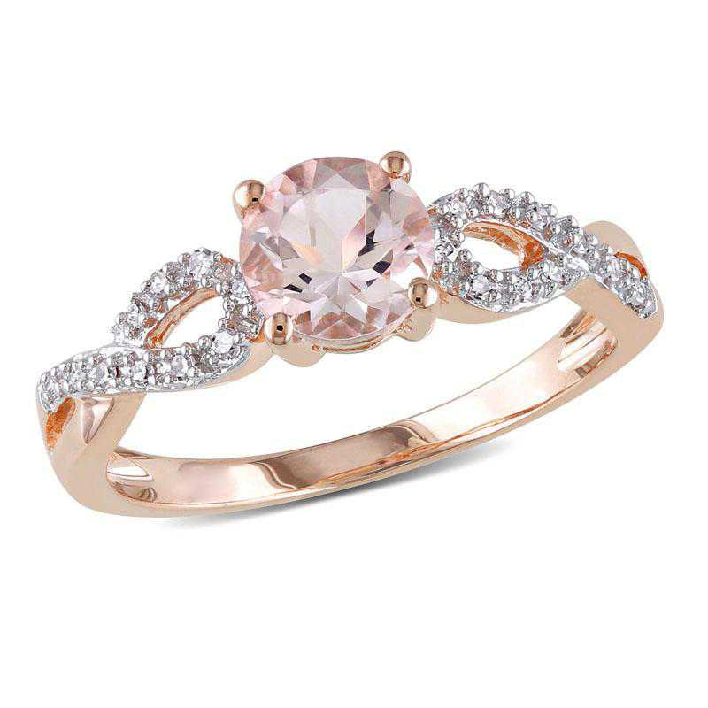 Morganite and 1/10 CT TW Diamond Infinity Ring in 10k Rose Gold