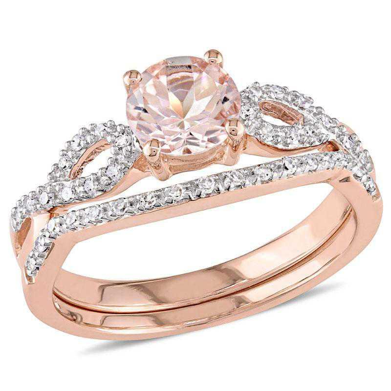Morganite and 1/6 CT TW Diamond Ring Set in 10k Rose Gold