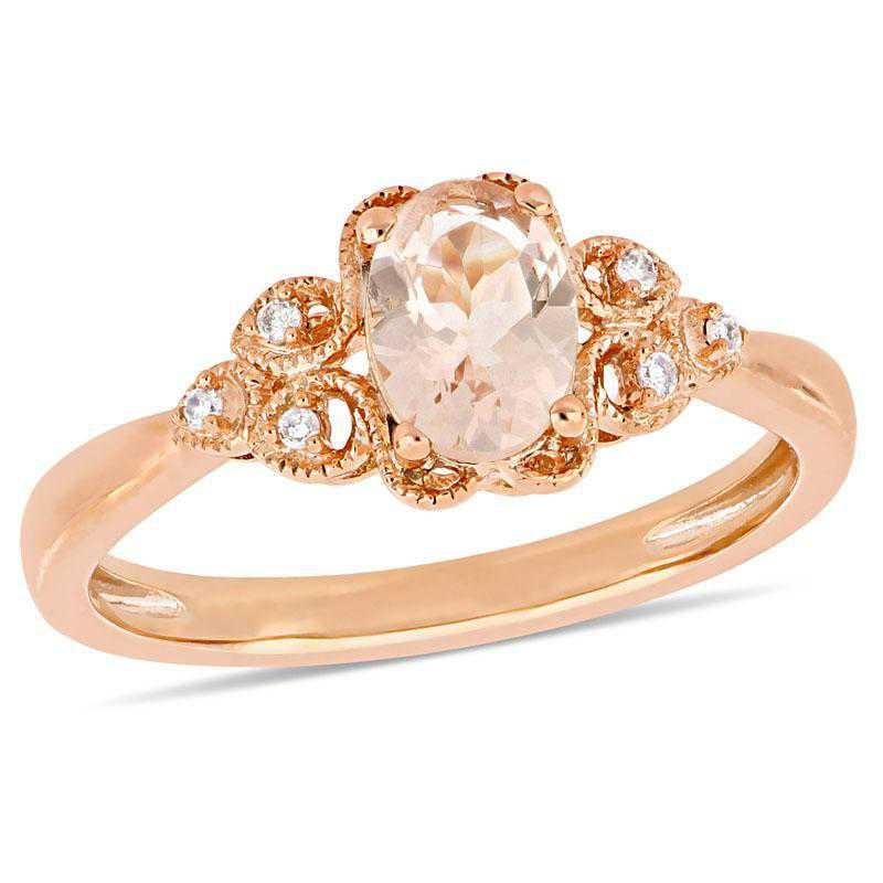 Morganite and Diamond Filigree Ring in 10k Rose Gold
