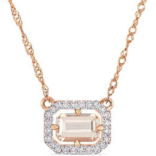 BAL000841: Octagon Morganite /1/10 CT TW DMND Float/g Halo Neck /14k RG