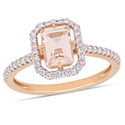Morganite and 1/4 CT TW Diamond Floating Halo Ring in 14k Rose Gold