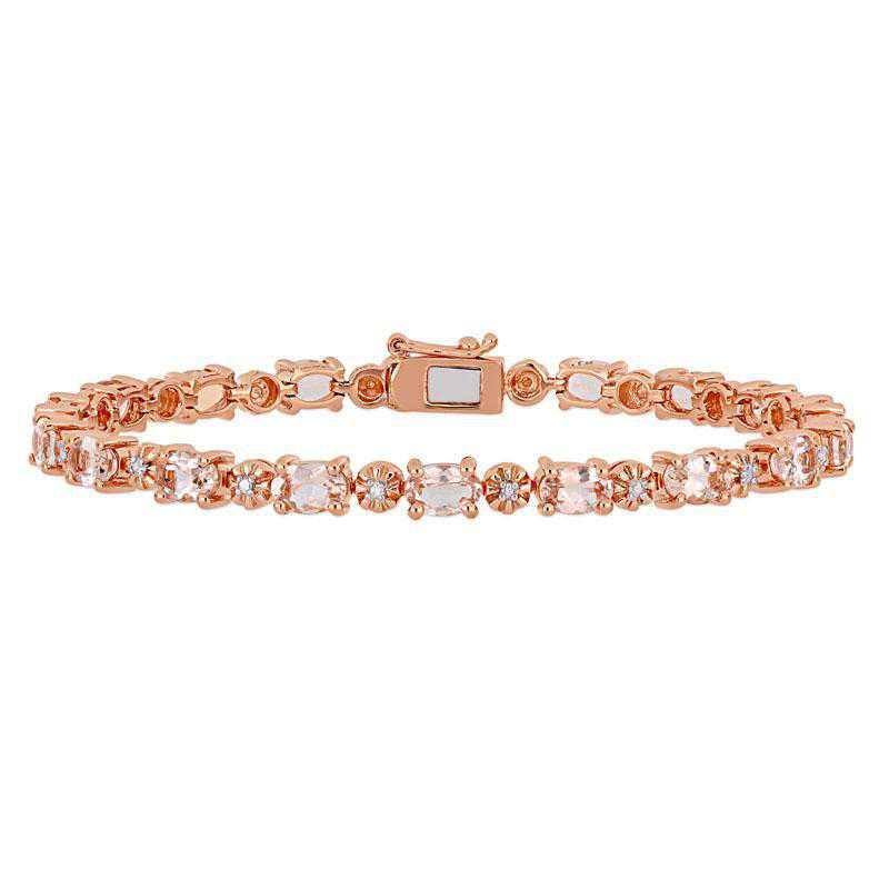 BAL000844: Morganite / DMND Accent Tennis Bracelet / Rose Plated SS