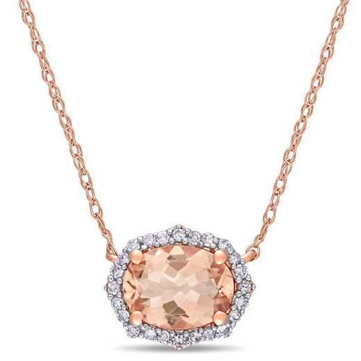 BAL000846: Oval-Cut Morganite /1/10 CT TW DMND Halo Vtage Neck /10k RG
