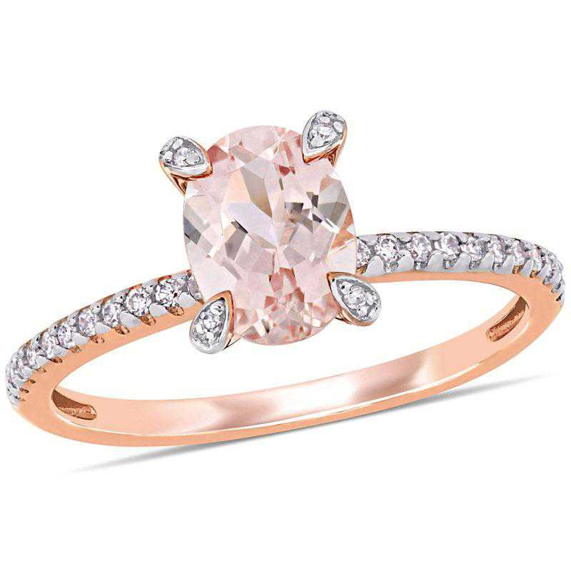Oval Morganite and 1/10 CT TW Diamond Ring in 10k Rose Gold