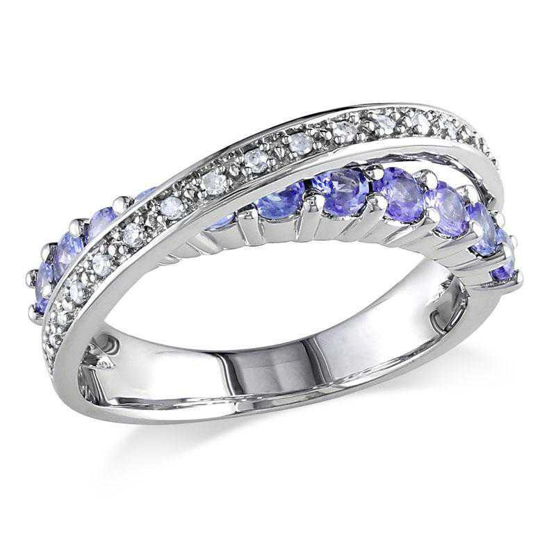 Tanzanite and 1/10 CT TW Diamond Crossover Ring in Sterling Silver