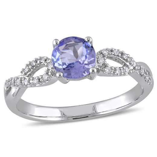 Tanzanite and 1/10 CT TW Diamond Infinity Ring in 10k White Gold