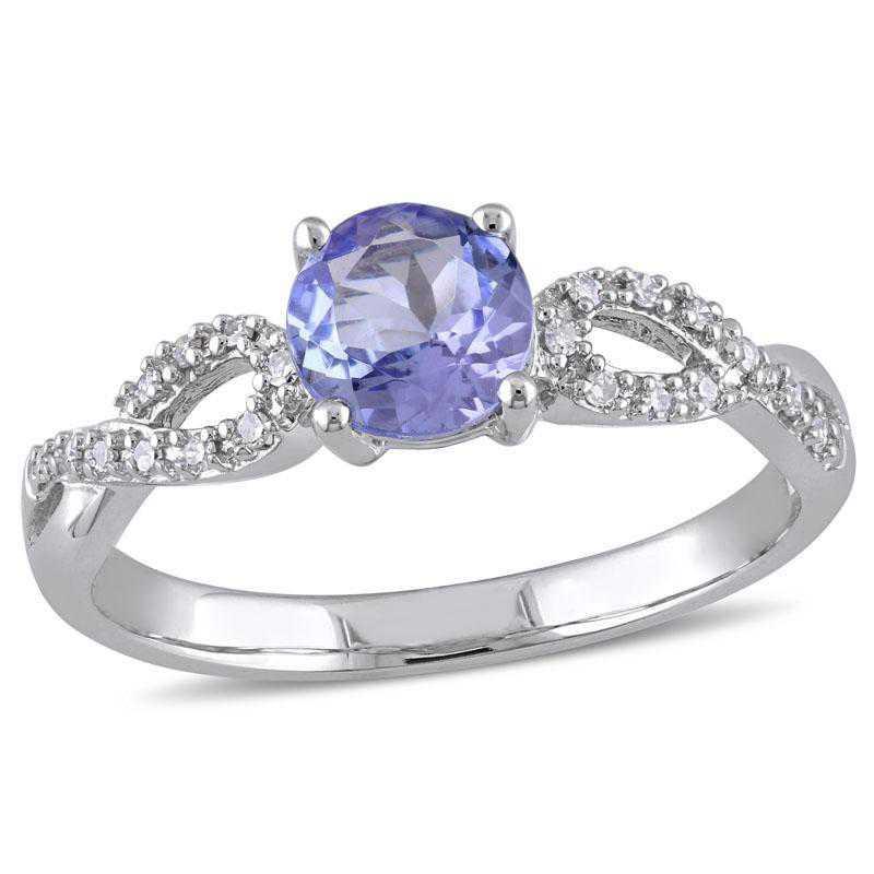 Tanzanite and 1/10 CT TW Diamond Infinity Ring in 10k White Gold