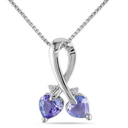 BAL000857: Tanzanite / DMND Double Heart Pendant with Cha/ / SS