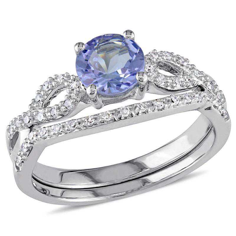Tanzanite and 1/6 CT TW Diamond Ring Set in 10k White Gold