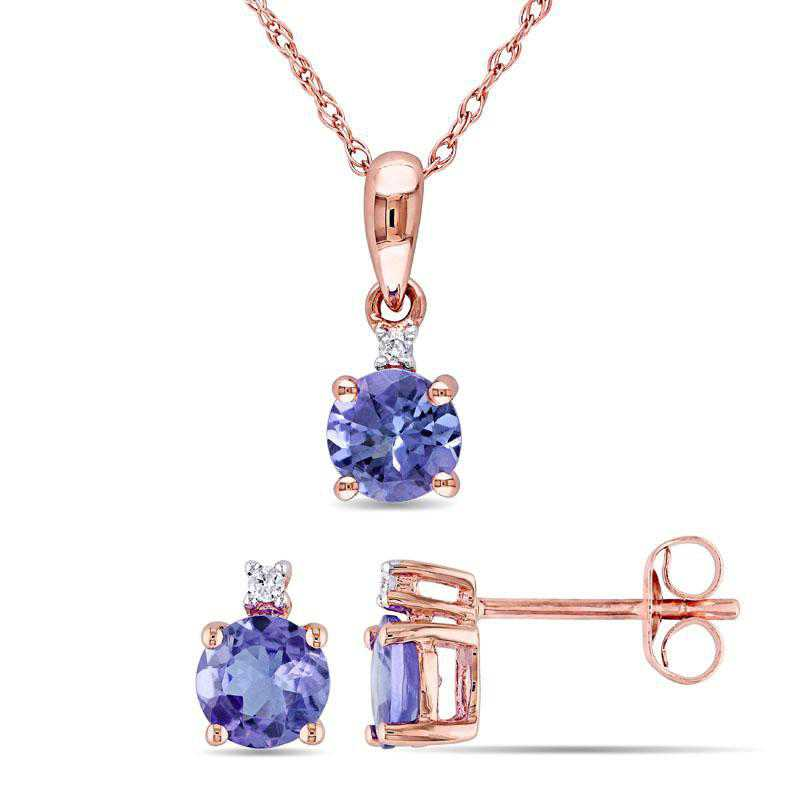 BAL000862: 2-PC Tanzanite/Diamond Solitaire Neck/Stud Ear10kRG