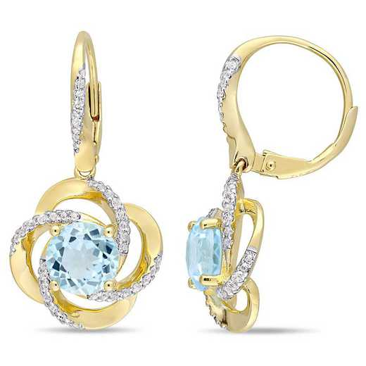 BAL000036: Blue Topaz/Wht Topaz Interlaced Swirl Earing/Yelow Plated SS