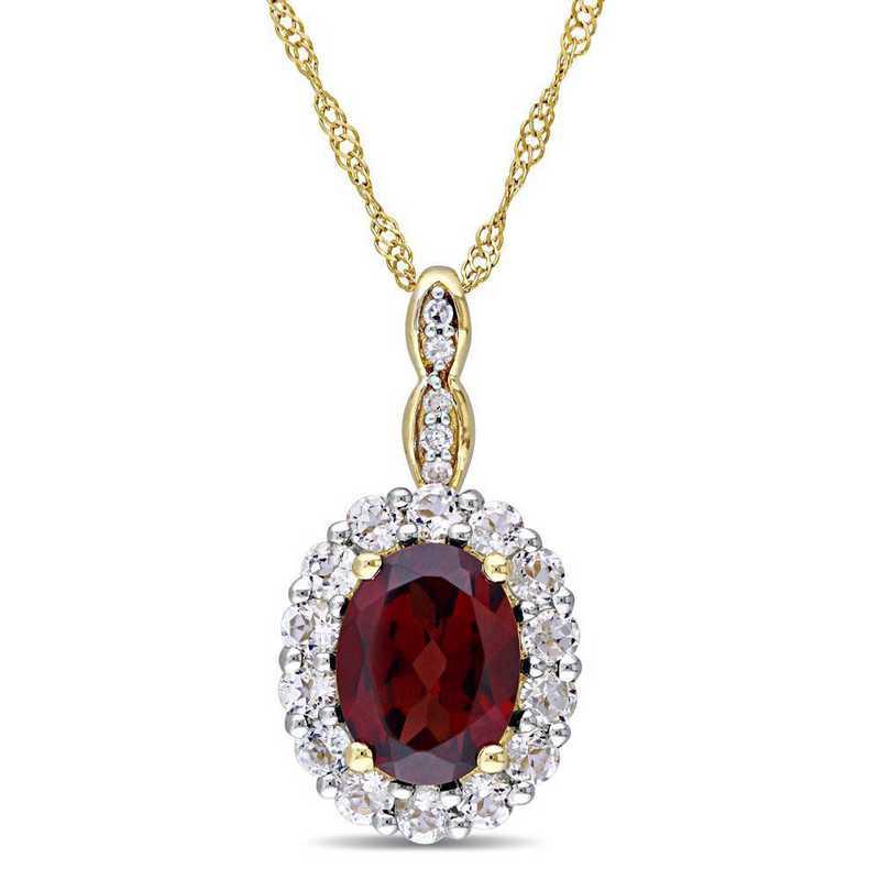 BAL000112: Garnet/Wht Topaz/Diamnd Accent Vintage Necklace/14k YelowGld