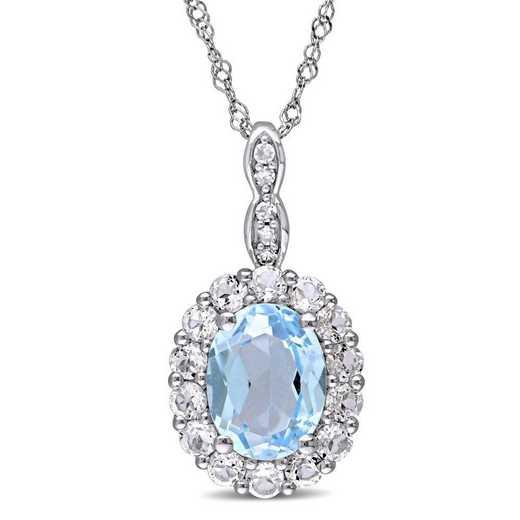 BAL000117: Blu Topaz/Wht Topaz/Diamnd Acent Vintag Necklace/14kWht Gold