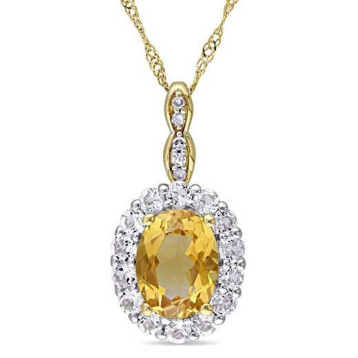 BAL000118: Citrine/Wht Topaz/Diamond Acent Vintage Necklace/14kYelowGld