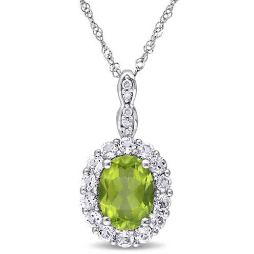BAL000120: Peridot/Wht Topaz/Diamnd Accent Vintage Necklace/14kWht Gold