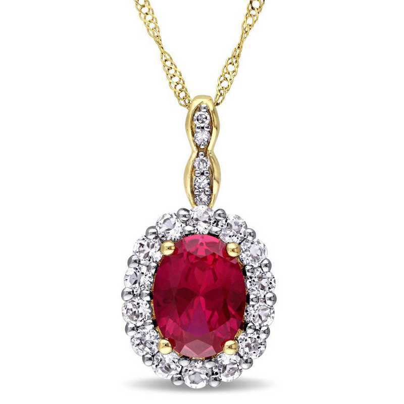 BAL000122: Creat Ruby/Wht Topaz/Diamnd Acent Vintag Necklac/14kYelowGld