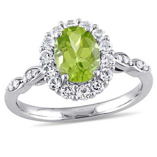 Peridot- White Topaz and Diamond Accent Halo Vintage Ring in 14k White Gold